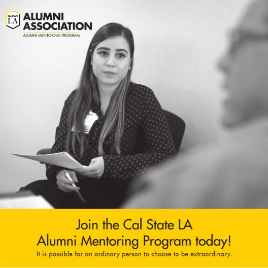 Black and white photo of mentee and mentor for the Alumni Mentoring Program